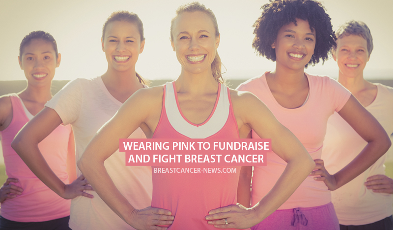 Wearing pink to raise funds for breast cancer